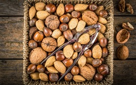 Preview wallpaper A basket of nuts, walnut