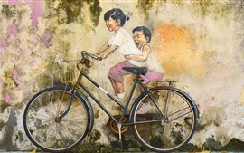 Preview wallpaper Art painting, wall, bike, childs