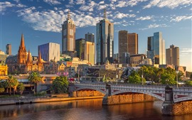 Preview wallpaper Australia, Melbourne, skyscrapers, city, bridge, river, sunshine