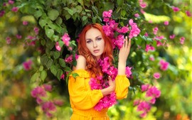 Preview wallpaper Beautiful girl and bougainvillea