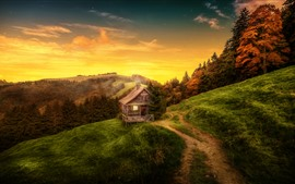 Beautiful nature landscape, house, trees, path, mountain, autumn