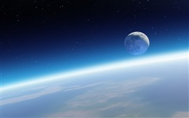 Preview wallpaper Beautiful space, Earth, moon