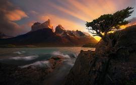 Hermosa puesta de sol, rocas, árboles, montañas, mar