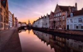 Belgium, Bruges, river, city, houses, dusk