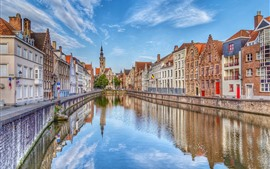 Preview wallpaper Belgium, Bruges, street, houses, river, city