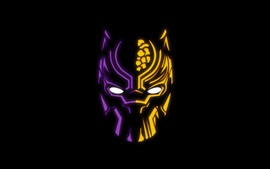 Preview wallpaper Black Panther, logo, black background