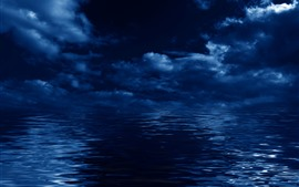 Preview wallpaper Blue sea, clouds, night