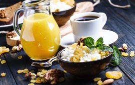 Preview wallpaper Breakfast, orange juice, coffee, food, nuts