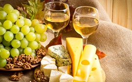 Preview wallpaper Cheese, grapes, nuts, wine