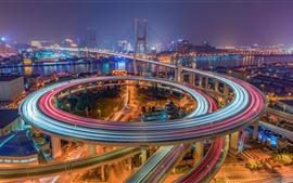 미리보기 배경 화면 중국, 상하이, 남푸 대교, 조명, 야, 도시, 강