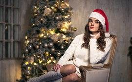 Preview wallpaper Christmas girl, sweater, hat