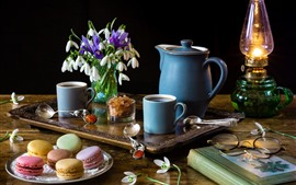 Preview wallpaper Coffee, snowdrops, macaroon, lamp, book, glasses