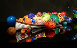 Preview wallpaper Colorful balls, boat, 3D design