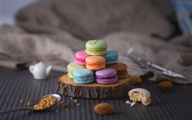 Preview wallpaper Colorful macaron, cakes, hazy background