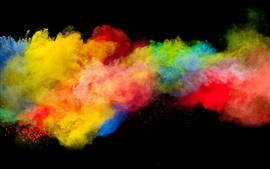 Preview wallpaper Colorful smoke, rainbow colors, black background