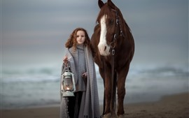 Preview wallpaper Cute brown hair little girl and horse, lamp