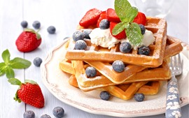 Preview wallpaper Delicious food, waffles, strawberry, blueberries