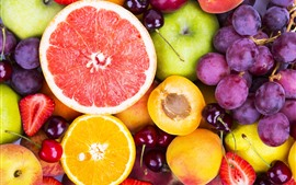 Preview wallpaper Delicious fruit, red grapes, oranges, cherry, apples, peaches, strawberry