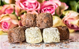 Preview wallpaper Dessert, chocolate candy, pink roses background
