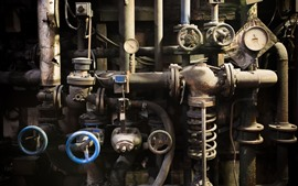 Preview wallpaper Factory, pipes, valve, dirt, rust