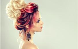 Chica de moda, peinado, colores.