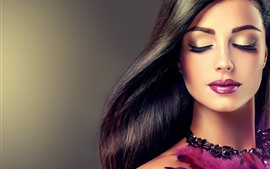 Preview wallpaper Fashion girl, hairstyle, makeup, feathers, decoration