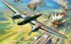 Preview wallpaper Fighter, war, bombing, railroad, art picture