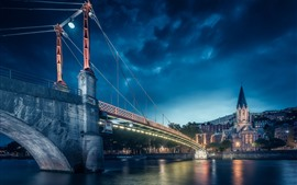 Preview wallpaper France, Lyon, city at night, bridge, lights, river
