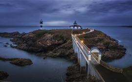 Preview wallpaper Galicia, sea, lighthouse, bridge