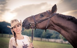 Preview wallpaper Girl and horse, hat, summer