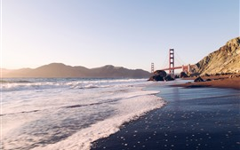 Preview wallpaper Golden Gate Bridge, sea, waves, coast, San Francisco, USA