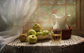 Preview wallpaper Green apples, cup, kettle, window, table