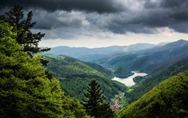Green mountains, lake, village, clouds