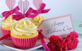 Preview wallpaper Happy Mothers Day, cupcakes, carnation