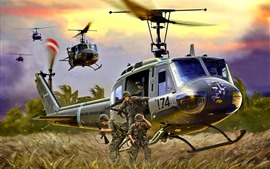 Preview wallpaper Helicopter, landing, soldiers, art picture