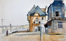 Preview wallpaper Honfleur, Lower Normandy, France, watercolor painting, city, houses, street