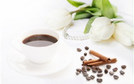 Preview wallpaper Hot coffee, steam, white tulips, beads, white background