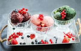 Preview wallpaper Ice cream, berries, ice, summer dessert