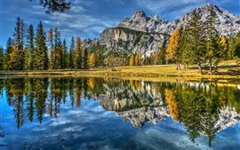 Италия, Доломиты, озеро, горы, деревья, осень