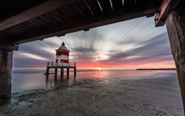 Preview wallpaper Italy, lighthouse, sea, beach, sunset