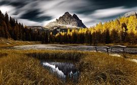 Italia, paisaje natural, otoño, árboles, montaña, lago, Parque