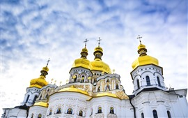 Preview wallpaper Kiev Pechersk Lavra, Ukraine, dome, sky, clouds