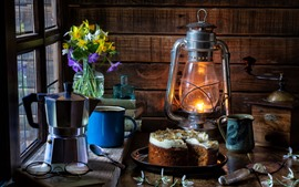 Preview wallpaper Lamp, cake, window, daffodils, coffee, still life