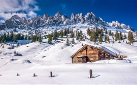 Preview wallpaper Lassen Volcanic National Park, snow, mountain, trees, house, winter, USA