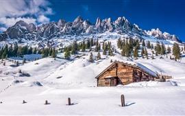 Aperçu fond d'écran Parc national du volcan Lassen, neige, montagne, arbres, maison, hiver, USA