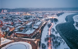Preview wallpaper Lithuania, Kaunas, winter, snow, river, dusk, city top view