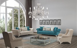 Preview wallpaper Living room, sofa, chandelier