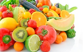 Preview wallpaper Many kinds of fruit, oranges, lemon, kiwi, melon, strawberry, corn