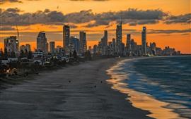 Miami Beach, mar, arranha-céus, Crepúsculo, EUA