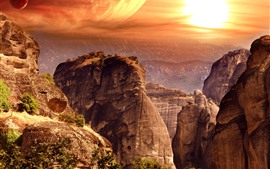 Preview wallpaper Mountains, sunset, planets, creative picture